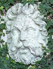 Sale 8568A - Lot 189 - A composite stone classical style head, together with a leaf form wall pocket, both approx. H 39cm