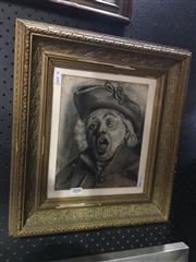 Sale 8726 - Lot 2008 - Artist Unknown - The Drunken Orator, charcoal, 40 x 36cm (frame size), unsigned