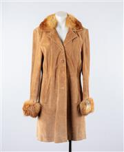 Sale 8760F - Lot 178 - A suede coat in camel with fur collar and trim to sleeves, approx size 10