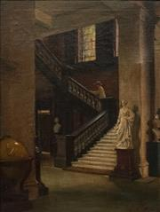 Sale 8799 - Lot 571 - Lindsay Bernard Hall (1859 - 1935) - The Staircase (Melbourne Public Library) 67.5 x 50.5cm