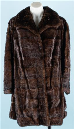 Sale 9091F - Lot 236 - A MEISTER KLASSE 3/4 LENGTH MINK JACKET IN LIGHT BROWN; with a Peter Pan collar, lined internally with silk, has two hidden side poc..