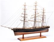 Sale 9070H - Lot 50 - Large timber scale model of the Cutty Sark, length 102, height 73cm presented on timber stand