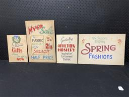 Sale 9188 - Lot 1098 - Collection of four drawn painted SALE signs on card incl. MYER (various sizes)