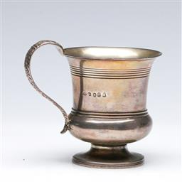 Sale 9093 - Lot 34 - A Georgian Hallmarked Sterling Silver Mug, London, c.1818 by GK (H9cm, wt. 131.5g)