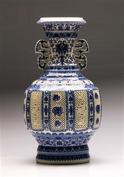 Sale 9128 - Lot 17 - A blue and white pierced Chinese revolving vase (H 53cm)