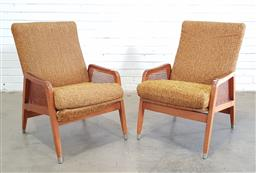 Sale 9171 - Lot 1080 - Pair of vintage timber armchairs with rattan sides (h:83 x w:56 x d:65cm)