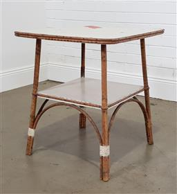 Sale 9255 - Lot 1116 - Vintage timber and cane occasional table (h:69 x w:61 x d:61cm)