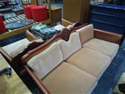 Sale 7969A - Lot 1043 - Lounge Setting with Rattan Side inc 2 Armchairs & 3 Seater