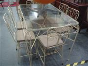 Sale 7969A - Lot 1086 - Garden Table with Glass Top with 6 Chairs
