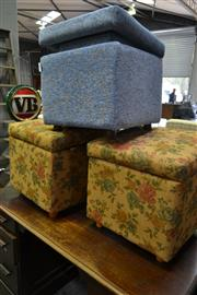 Sale 8159 - Lot 1095 - Pair of Blue Upholstered Graduated Ottomans & Pair of Floral Upholstered Ottomans