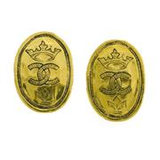 Sale 8173F - Lot 324 - A PAIR OF VINTAGE CHANEL EARRINGS; oval gilt metal clip ons, with box.