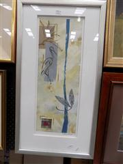 Sale 8437 - Lot 2011 - Peter Johnson (XX - ) - Untitled (Crane Bird in Abstract), 2003 55 x 20cm