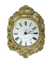Sale 9087H - Lot 21 - Antique French clock face / dial 'Sieurac' fitted with a quartz movement 40 x 32 cm