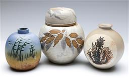 Sale 9098 - Lot 269 - Group of three pottery vases (lidded example H20.5cm)