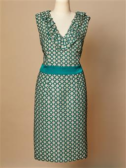 Sale 9093F - Lot 46 - A Modcloth Anna Sui knee length green and gold dress, size 10