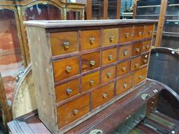 Sale 9097 - Lot 1021 - Cedar & Pine 22 Drawer Chest, converted, with glass knobs (h:63 x w:106 x d:25cm)