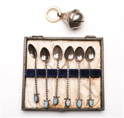 Sale 9098 - Lot 169 - Cased set of six silver Prouds demitasse spoons with opal ends together with a hallmarked sterling silver baby rattle with mother of...