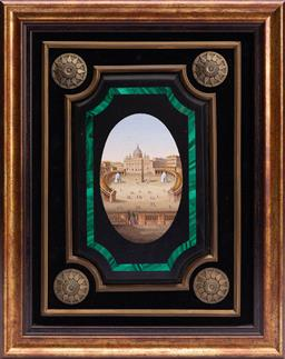 Sale 9185E - Lot 27 - An Italian micro mosaic and malachite inserted panel depicting St. Peters Basilica, attributed to Cesare Roccheggiani,  frame size 3...