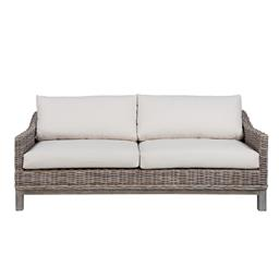 Sale 9250T - Lot 87 - A 2 seater sofa featuring solid timber base, kubu rattan, and linen cushions. Height 64cm x Width 180cm x Depth 84cm