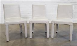 Sale 9210 - Lot 1055 - Set of 3 leather clad dining chairs