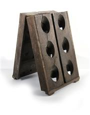 Sale 8224A - Lot 4 - A small twelve bottle old French oak table riddling wine rack, 41 x 25 cm
