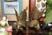 Sale 8236 - Lot 56 - Brass Pair of Fighting Cocks