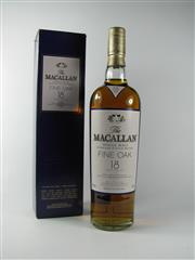 Sale 8329 - Lot 516C - 1x The Macallan Distillers 18YO Fine Oak Single Malt Highland Scotch Whisky - 43% ABV, 700ml in box