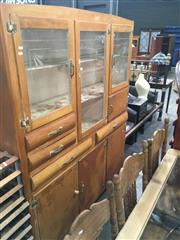 Sale 8740 - Lot 1394 - Mid Century Kitchen Cabinet with Etched Glass Panels and Multiple Drawers and Doors