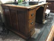 Sale 8795 - Lot 1072 - Timber Twin Pedestal Desk with Green Leather Top
