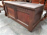 Sale 8848 - Lot 1037 - 17th Century Oak Chest, with hinged lid and chip carved frieze