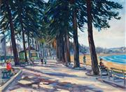 Sale 9030 - Lot 597 - Peter Panow (1902-1975) - Stroll Along Manly Beach 50 x 69 cm (frame: 64 x 83 x 3 cm)