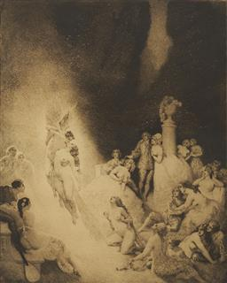 Sale 9096 - Lot 544 - Norman Lindsay (1869 - 1979) Death in the Garden etching, ed. 47/55 32 x 25.5 cm (frame: 64 x 55 x 3 cm) signed and dated lower righ...