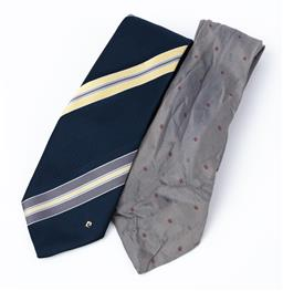 Sale 9092F - Lot 13 - A PIERRE CARDIN TIE; together with a CHRISTIAN DIOR PARIS MONSIEUR TIE; in grey with CD pattern in reds and greys. (needs attention)