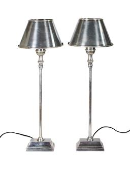Sale 9123J - Lot 350 - A pair of Art Deco style metal nickel silver finished table lamps. Re-wired to Australian standards. Ht: 60 cm