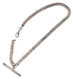 Sale 9140 - Lot 323 - A VINTAGE SILVER ALBERT CHAIN; pierced tulip shape links to a swivel clasp with t bar, approx. 600 silver, length 37cm, wt. 27.08g.