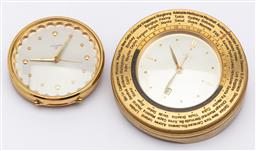 Sale 9099 - Lot 34 - A 1960s Gubelin 8 day desk clock of the world together with another by Luxor, Larger Diameter 12cm