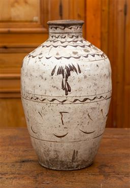 Sale 9160H - Lot 42 - A Chinese earthenware glazed baluster wine jar with slip decoration, Height 56cm