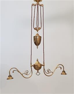 Sale 9215 - Lot 1088 - Edwardian Brass Electric Ceiling Pendant Light, with two scrolled branches (h: adjustable x w:69cm)