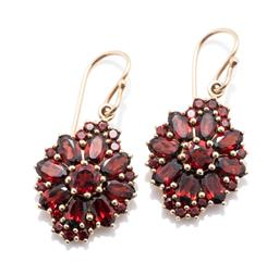 Sale 9253J - Lot 423 - A PAIR OF 9CT GOLD BOHEMIAN GARNET CLUSTER EARRINGS; each centring a round cut garnet to surround of 8 oval cut and 14 round cut gar...