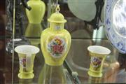 Sale 8047 - Lot 14 - Meissen Hand Painted Lidded Vase w/ Matching Pair of Spill Vases