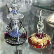 Sale 8379 - Lot 76 - Art Glass Perfume Bottle with Engraved Initials & Another (2)
