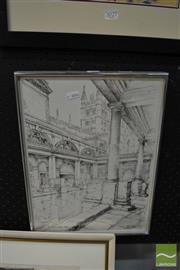 Sale 8471 - Lot 2030 - Peter Coard, Roman Bath, Sketch, SD&& LR, Detales Verso, 39x29cm