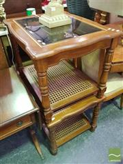 Sale 8495F - Lot 1050 - Pair of Glass Insert Top Timber Tables with Rattan Shelf Below