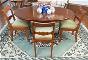 Sale 8515A - Lot 98 - A Regency style timber breakfast table with glass top, L 140cm, together with four matching timber dining chairs upholstered in gree...
