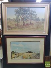 Sale 8544 - Lot 2026 - 2 Framed Works: Jeffrey Newman Cattle Acrylic on Canvas SLR with George Santer Smith & Brown Watercolour SLR