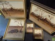 Sale 8557 - Lot 2067 - Gloria Taylor (5 works) Australian Landscape Scenes, acrylic paintings, each signed (various sizes, framed)
