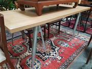 Sale 8669 - Lot 1050 - Tolix Trestle Style Table with Heavy Timber Top