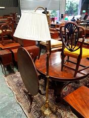 Sale 8693 - Lot 1089 - Probably 1920s Brass Standard Lamp, the etched pattern arm with shade, on pierced double walled foot