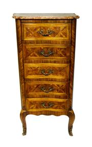 Sale 8888H - Lot 15 - An early 20th Century marquetry inlaid and marble top 5 drawer chest of drawers - 100 x 50 x 33 cm