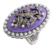 Sale 8954 - Lot 324 - A SILVER STONE SET GEORGIAN STYLE LOVE RING; navette shape mount featuring a lavender enamel ground applied with love bird motif set...